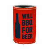 Stubby Can Cooler - Will BBQ For Beer