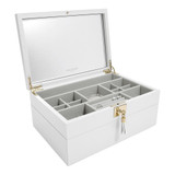 Stackers Jewellery Box Set with 3 Tray Layers - White