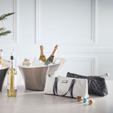 Sachi Insulated Wine Purse - Quilted Black