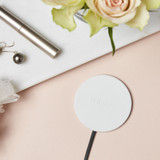 Moon Wireless Charging Pad - White Leather