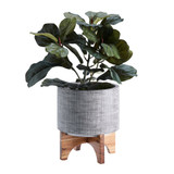 Howards Grey Ceramic Pot with Wooden Stand