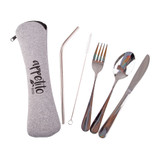 Appetito 5 Piece Stainless Steel Travel Cutlery Set