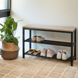 SHOE RCK BLK 2 TIER W MDF SEA