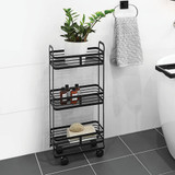 Howards 3 Tier Black Mesh Trolley - Slim