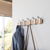 Wall Mounted 5 Hook Adjustable Rack- Silver
