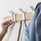 Wall Mounted 5 Hook Adjustable Rack- Silver