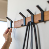 Wall Mounted 5 Hook Adjustable Rack- Black