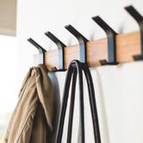Wall Mounted 5 Hook Adjustable Rack- Black