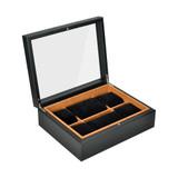 6 Compartment Watch Box - Black