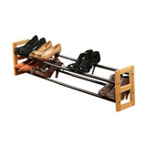 Bamboo Two-Tier Expandable Shoe Rack - Black