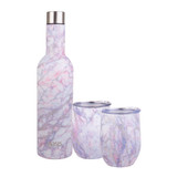 Oasis 3 Piece Patterned Stainless Steel Insulated Wine & Cup Set - Quartz