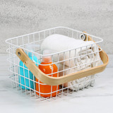 Storage Basket with Wooden Handle - White