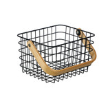 Storage Basket with Wooden Handle