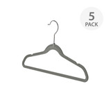 KIDS HANGER WITH BAR FLOCKED 5 PACK GREY