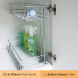 Tansel Pull Out Bottom Mount 150+200mm Detergent Kit for Internal Width Area +229mm