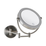 Signature Collection Wall Mounted Magnifying LED Makeup Mirror - Brushed Nickel
