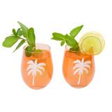 Sunnylife Cheers Desert Palms Stemless Glass Tumblers 2 Pack
