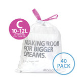 brabantia Smartfix Waste Bags 12 Litre Dispenser Pack - 40 pack - Size C
