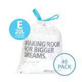 brabantia Smartfix Waste Bags 20 Litre Dispenser Pack - 40 pack - Size E