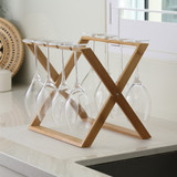 Bamboo Collapsible Wine Glass Holder