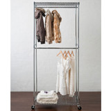 easy-build 2 Shelf Double Rail Wardrobe Kit - Silver