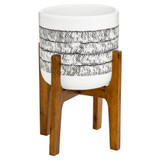 Howards Ceramic Pot Planter with Wooden Stand - White & Black