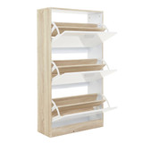 Howards Shoe Cabinet 3 Drawers - White/Brown