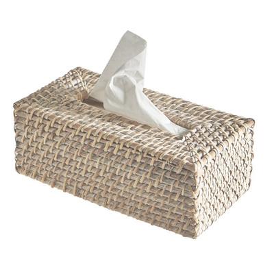 Rattan Rectangular Tissue Box - White