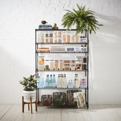 easy-build Custom 6 Shelf Kitchen Pantry Unit - Black
