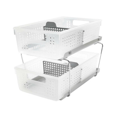 madesmart Two-Tier Storage Basket Organiser with Dividers