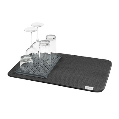Polder Microfibre Dish Dry Mat with Glass Tray