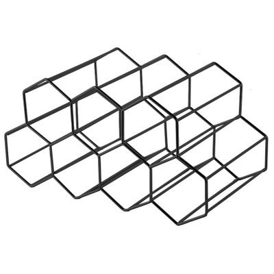 Hexagonal 9 Bottle Wine Rack - Black