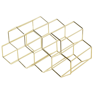 Hexagonal 9 Bottle Wine Rack - Gold