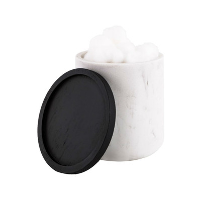 Marble Look Bathroom Cotton Canister with Black Trim