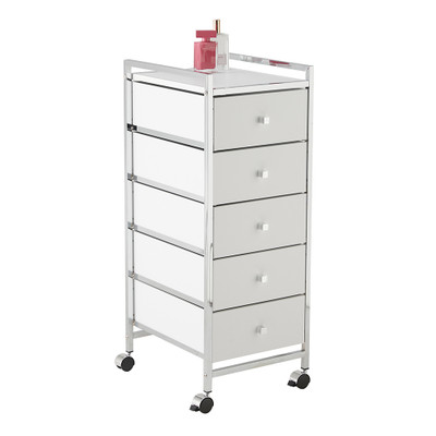 5 Drawer Cabinet Trolley White