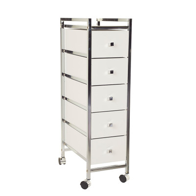 Slim 5 Drawer Cabinet Trolley White