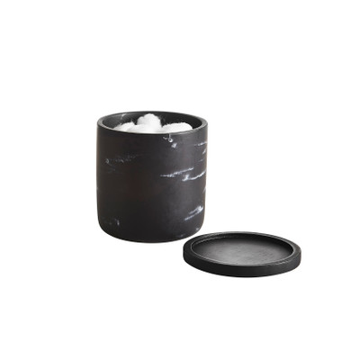 Marble Look Bathroom Cotton Canister - Black