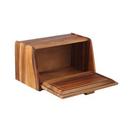 Davis & Waddell Acacia Wood Bread Box With Bread Board Lid