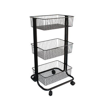 3 Tier Trolley with Wire Baskets and Wheels - Black