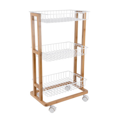 Bamboo 3 Tier Wire Basket Trolley White - Large