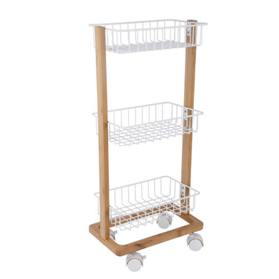 Bamboo 3 Tier Wire Basket Trolley White - Small