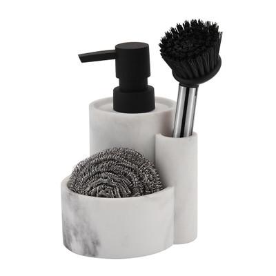 Marble Look Kitchen Sink Caddy - White
