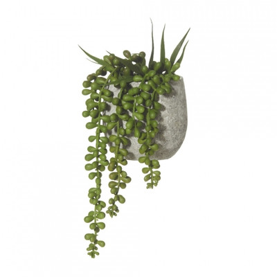 Faux Potted String of Pearls in Ceramic Pot