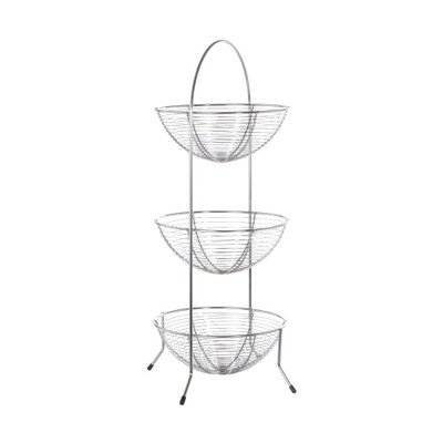 3 Tier Chrome Fine Wire Fruit Basket