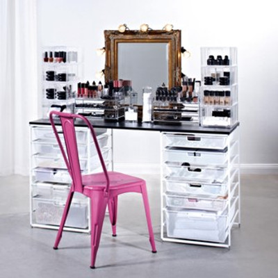 elfa Customised White Mesh Makeup Station