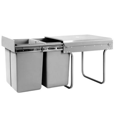 Hettich Bin It Duo II 400 Built-In Waste Bins 2 x 16 Litre - Grey