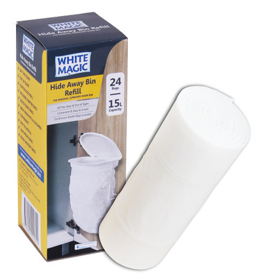 White Magic Hide Away Bin Liner Rubbish Bag Refill - 24 Pack