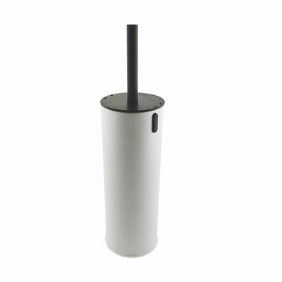 Toilet Brush Holder with Lockable Lid - White
