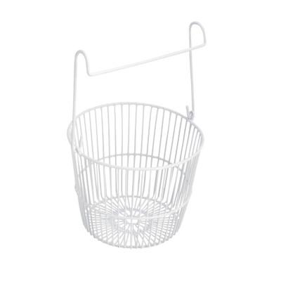 Round Metal Peg Basket - White