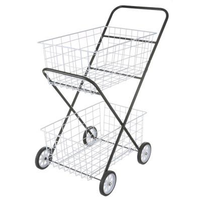 2 Tier Black Laundry Basket Trolley